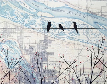 "Willamette 20"" x 30"" // Portland Art // Oregon Art // Map Art // Bird Art // Birds on Wire Art // Rachel Austin Art"