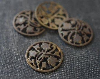 Vintage Antiqued Brass Ivy Medallions - Rare - Brass Leaf Pendant - Coin Pendant - Maple Leaf Charm - Filigree Leaf Bronze Leaf Charm