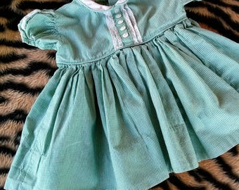 Vintage 1960s Baby Dress 60s Infant Dress Green Plaid Cotton 6 months 201724
