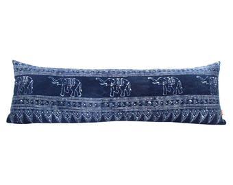 Blue Elephant Indigo Batik Long Lumbar Zipper Pillow - Bohemian Long Lumbar Pillow - Boho Linen Decorative Pillow-Down Filler Included