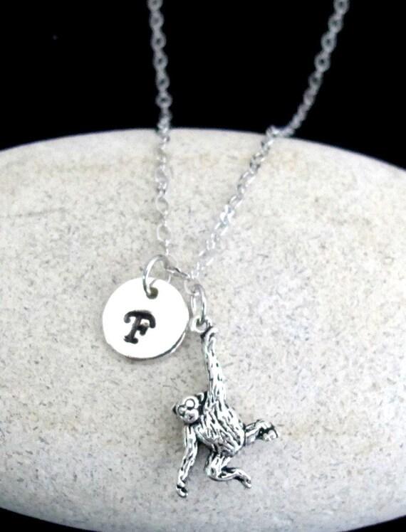 Hanging Monkey Necklace, Personalized Swinging Monkey Pendant Necklace, Monogram Initial Ape Necklace Jewelry, Free Shipping USA