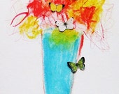 Original painting on paper, pastels, flowers in a blue vase with butterflies, still life, Somerset Studio, Fall 2016