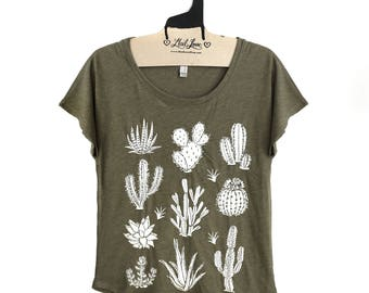 S,M,L,Xl-  Tri-Blend Olive Dolman Tee with Cactus Screen Print-