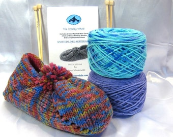 Free Shipping Knitting Kit Lined Wool Slippers Colorway Biloxi Blues