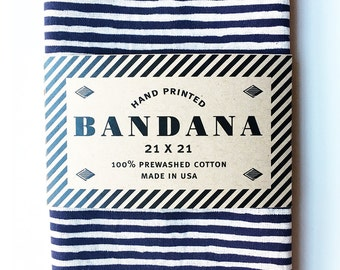 Navy Blue Striped Bandana, Hand Screen Printed and Soft