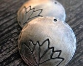 20mm Antiqued Sterling Silver Hammered and Lotus Stamped Single Hole Discs - 1 pair