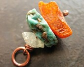 Baltic Amber, Turquoise and Blue Topaz Cairn Pendant no.3