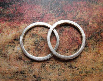 Brushed Bright Sterling Silver Links - 1 pair - 15mm - 16 gauge Soldered Circles