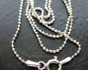 16 inch Diamond Cut Ball Chain Sterling Silver Necklace with Spring Ring Clasp - 1.2mm bead chain