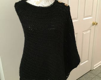 Black Asymmetrical Poncho with Wood Buttons