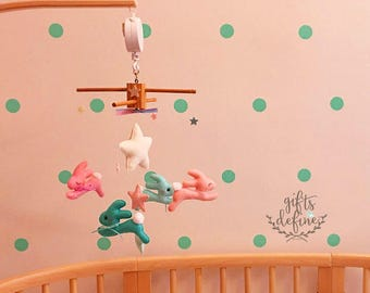 FREE US Ship Wish Upon the Stars Musical Baby Mobile, Storybook Bunnies and Stars, Cottontail Rabbit, Crib Mobile, Nursery or Kid Room Decor