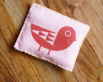 Felt Sewing Kit - BIRD Bean Bag - Original Screen Print Wool Beginner DIY