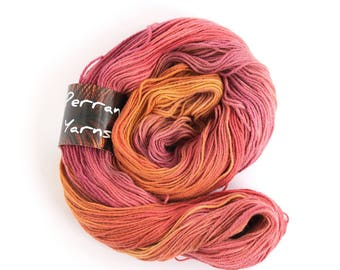 Pure yak yarn, 100% yak handdyed sportweight knitting crochet Perran Yarns Sunset Party orange pink variegated yarn, free knitting pattern