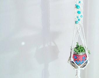 Shabby Chic Turquoise Hanging Planter- Wall Accent- Bohemian Decor- Dorm Decor~ Planter~ Modern Macrame- White Wall Accent- Boho Home Decor