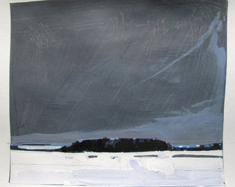 Snow Field, January 13, Original Winter Landscape Collage Painting on Paper, Stooshinoff