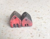 red barn beads, raku, kiln fired