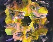 "NASA James Webb Space Telescope ""Icon: Gaze"" watercolor art print in multiple sizes. JWST with eyes."