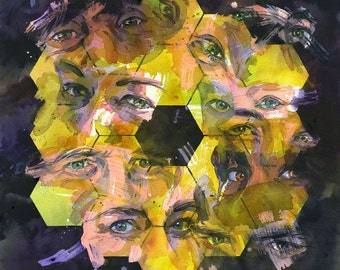 "NASA James Webb Space Telescope ""Icon: Gaze"" watercolor art print in multiple sizes. JWST with eyes."