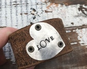 CRAZY SALE- Stamped Leather Cuff-Word Cuff-Love-Weathered Black