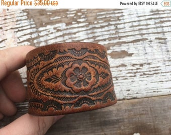 40% OFF- Tooled Leather Cuff-Create Your Own-Floral Leather-Word Cuff