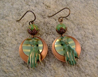 Hands Down - Copper Discs Vintage Striped Tin Patina Victorian Hands Niobium Wires Recycled Repurposed Earrings