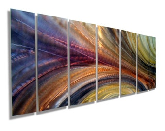 Large Multi Panel Modern Metal Wall Art in Purple, Gold & Orange, Abstract Metal Wall Sculpture, Home Decor - Energy of Dream by Jon allen
