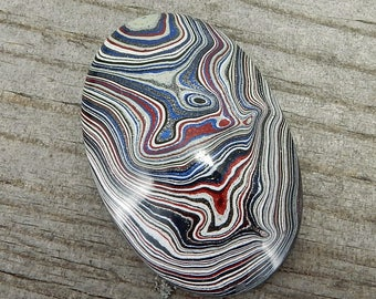 Fordite Cabochon - De-Stash Stone Sale - 24mm x 16mm Oval, Jewelry Making Supplies, Cab, Upcycled, Auto Paint Salvaged Material