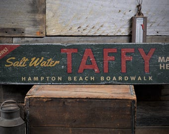 Salt Water Taffy Sign, Custom Boardwalk Sign, Beach Gift for Ocean Lover, Taffy Lover Gift, Rustic HandMade Vintage Wooden Sign ENS1001828