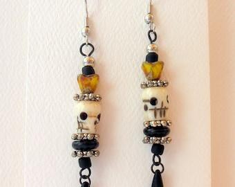 Earrings Dangle Earrings Skull and Flower Earrings #015