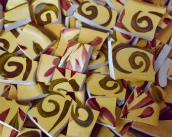 Mosaic Tiles Mix Broken Plate Art Hand Cut Pieces Supply Yellow SCroll Swirl White Pottery Tiles 100