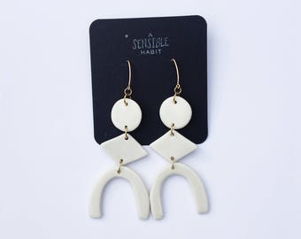 PORCELAIN MOTHERWELL EARRINGS - White