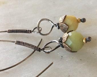 Silver Earrings, Jade Earrings, Mixed Metal Earrings, Oxidized Silver Earrings, Jade Earrings, Beads Earrings