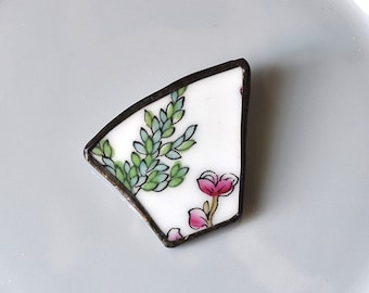 Broken China Brooch - Pink and Green