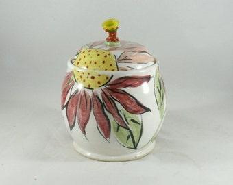 Ceramic Lidded Canister, Tea Jar, Pet Treat Jar, Sugar Bowl, Lidded Storage Jar, Jam Pot, Flower Kitchen Pottery for Spices, Mustard, Salt