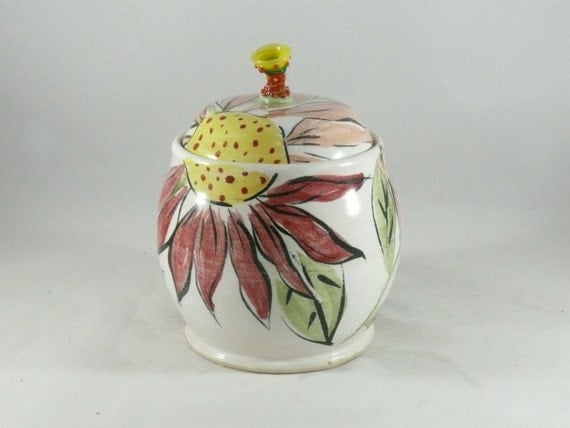 Ceramic Lidded Canister, Tea Jar, Pet Treat Jar, Sugar Bowl, Lidded Storage Jar, Jam Pot, Flower Kitchen Pottery for Spices, Mustard, Salt