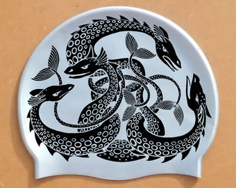 "Lovely eyecatching ""Sea Monsters"" swimming hat / Sea Serpent swim cap. Printed on high-quality silicone in 8 colours. Open water swimming."