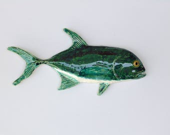Jack Crevalle ceramic fish art decorative wall hanging