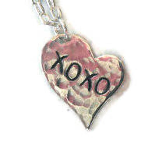 XOXO Love Heart Personalized Engraved Sterling Silver Necklace, custom heart, i love you heart, romanza jewelry