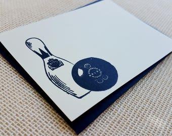 Letterpress Enclosure Card - Bowling Ball & Pin