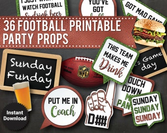 36 Football Photo Booth Props, Adult Printable Funny Party Props, super bowl, super bowl photo booth, Touch Down, Beer, speech bubbles