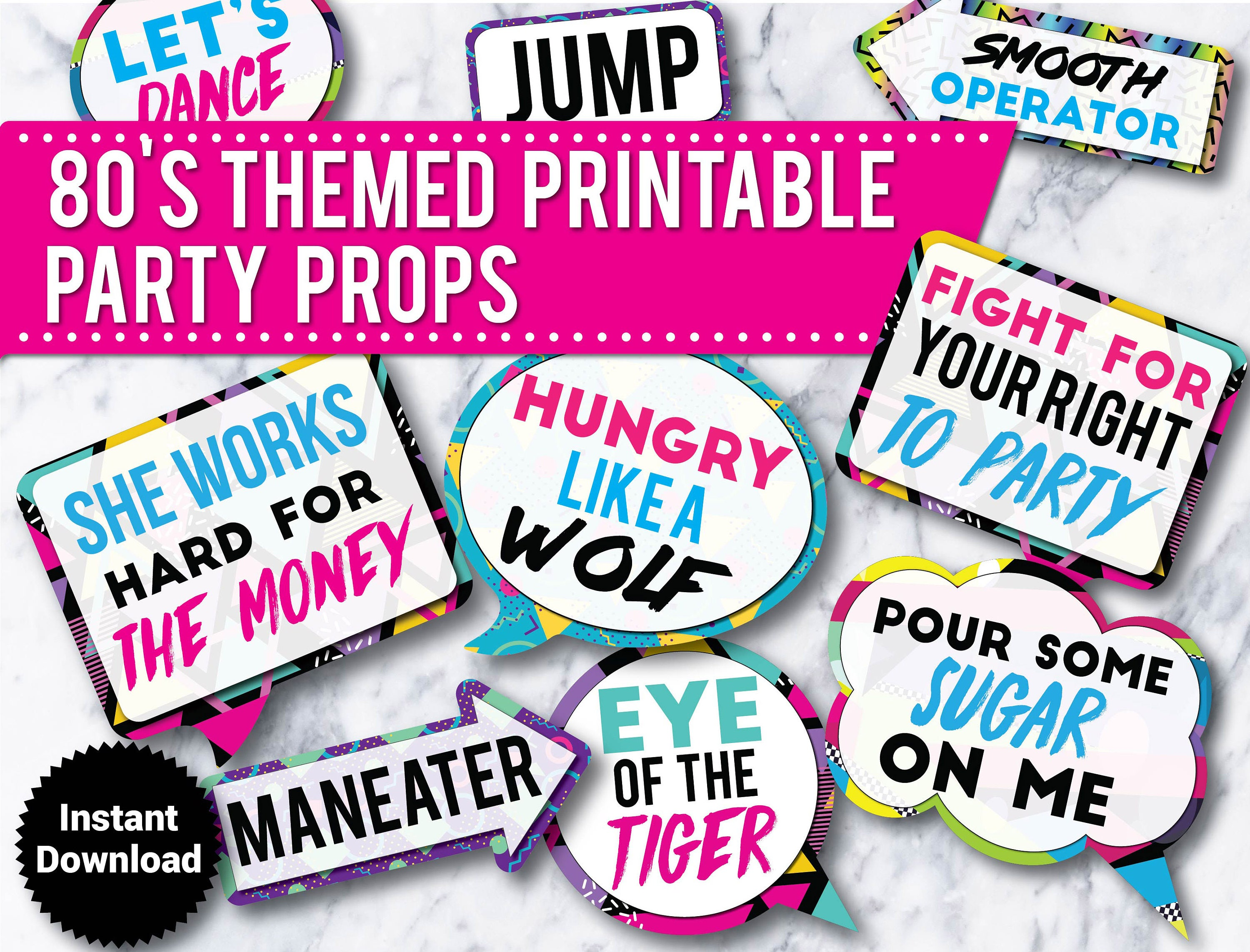 30 80 S Party Photo Booth Props Signs Printable