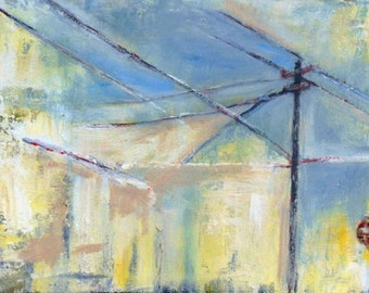 Abstract CITYSCAPE Painting LARGE Original City Power Lines - URBAN Landscape Art 20x12 by BenWill
