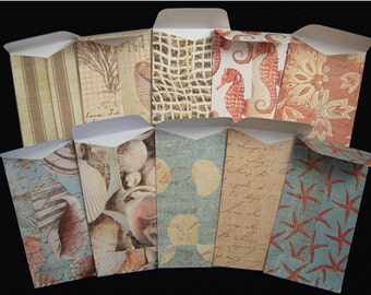 """10 """"At The Seaside"""" Coin Envelopes 2.25 inches X  3.75 inches"""