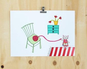 Cat with yarn - art print