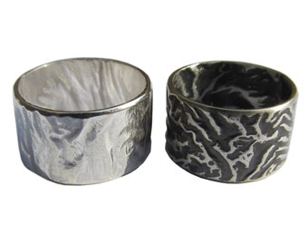 Reticulated Silver Wide Band Ring