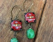 Mexican tile design earrings, Mexican Folk art, Talavera Pottery design, drop earrings, long earrings, Green and red