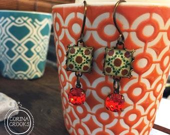 Mexican tile design earrings, Mexican Folk art, Talavera Pottery design, Dangle earrings, long earrings, Orange crystal