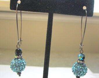 Teal Rhinestone Ball Earrings.  Rhinestone Earrings.  Teal Disco Ball Earrings.