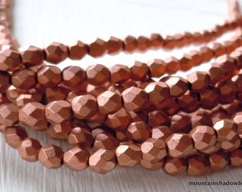 Full Strand- 50 4mm Czech Firepolished Faceted Beads Matte Antique Copper