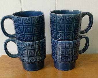 vintage blue stackable mugs Japan